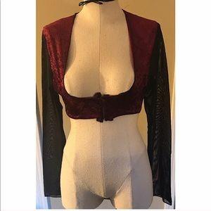 Belly Dance under bust vest w/ sheer sleeves